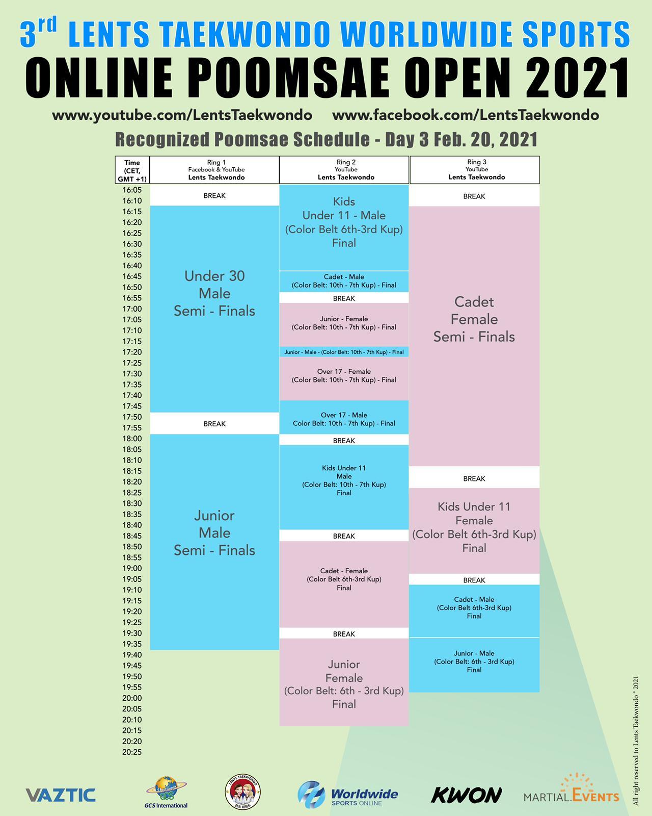 Schedule SATURDAY 20 FEB 2021 (2/2)